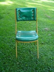 Vintage look Meco Folding chair Green Metallic Tufted Tall