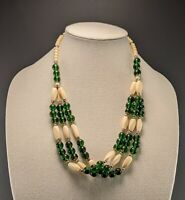 Vintage Green Glass Hand Carved Bovine? Bead Multi Strand Tribal Style Necklace