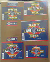 VINTAGE AUSTRALIAN BEER LABELS - LOT OF 5 TOOHEYS BLUE LIGHT BITTER
