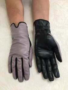 Women's Driving Dusty Purple and Black Genuine Leather Gloves