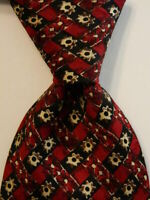 ERMENEGILDO ZEGNA Men's 100% Silk Necktie ITALY Luxury Geometric Red/Black EUC