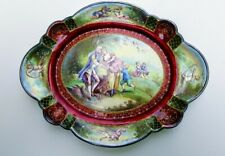 19th Ct. Austrian Viennese Enamel Tray Museum Quality, Silver Rimmed