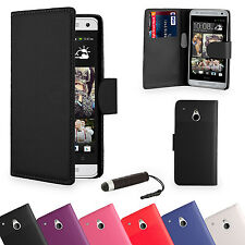 Wallet  LEATHER CASE COVER FOR HTC ONE M8 + SCREEN PROTECTOR STYLUS