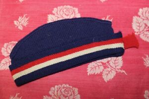 Vintage Childs Boys Patriotic Knit Hat Red, White & Blue Scotland Scottish Style