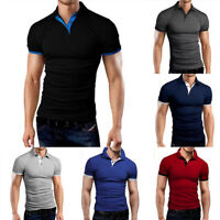 Fashion Mens Short Sleeve Shirt Fitness Workout Slim Fit Casual T-Shirts