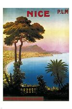 NICE FRANCE vintage travel poster P.L.M. BEAUTIFUL INLET prized rare 24X36