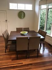 Solid Wood Kitchen/Dining table 8 leather Chairs