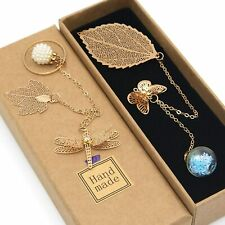 2PCS Handmade Gold Leaf Bookmark with 3D Butterfly & Dragonfly Christmas Gift