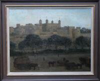 WILLIAM DACRE ADAMS TOWER BRIDGE LONDON BRITISH OIL PAINTING ART 1864-1951