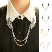 Men Women Crystal Shirt Cardigan Sweater Collar Clip Brooch Pin Decor Chain Wing