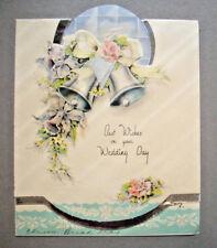 Bells with ribbon silver foil underlay wedding greeting card 1x