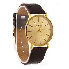 Ladies Fashion Mingbo Quartz Gold Dial Brown Band Wrist Watch.(Aussie Seller)