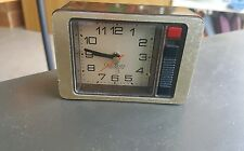 Vtg Westclox Quartzmatic Travel Alarm Clock Woodgrain takes 1AA Battery