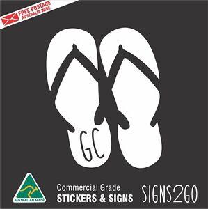 CAR STICKER GOLD COAST THONGS JANDALS FOR CAR BOAT VAN SURFBOARD MACBOOK IPAD