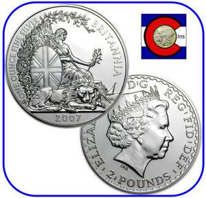 2007 Great Britain Silver Britannia UK 1oz £2 in direct fit capsule