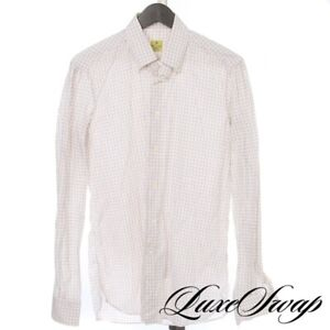 #1 MENSWEAR G. Inglese Made in Italy White Gold Indigo Tattersall Plaid Shirt 16
