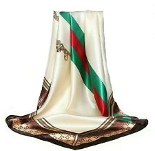 White Silk Satin Scarf High End Brand Ladies Tote Bag Green Red Stripes 90x 90cm