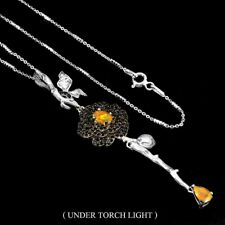 Unheated Oval Fire Opal 6x4mm Black Spinel 925 Sterling Silver Flower Necklace