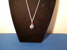 Necklace Black Ball with White Swirl and Beads on 18 inch chain 3