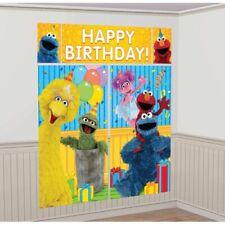 Sesame Street Scene Setter Happy Birthday Party Supplies Decoration Kit Elmo +