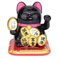 Beckoning Maneki Neko Fortune Wealth Happy Smiling Black Cat Japanese Doll Solar