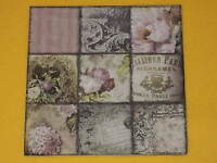 20 Servietten Vintage Collage PARIS Rosen Muster Schrift memory ornamente 1 Pack