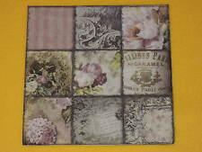 20 Servietten Vintage Collage PARIS Rosen Muster Schrift memory ornamente 1 Pack