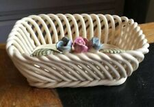 Vintage Portuguese Weave Pottery Basket With Flowers- Hand Made- 13cm X 5cm