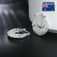 New 925 Sterling Silver Filled Women 26mm Filigree Flower Hoop Clip Earrings
