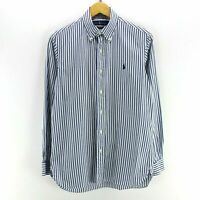 Vintage Ralph Lauren Men's Shirt in White/Blue size S Long Sleeve Striped CD2566