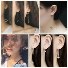 1Pair Silver Long Chain Ear Thread Threader Earring Drop Tassel Ear Line Jewelry