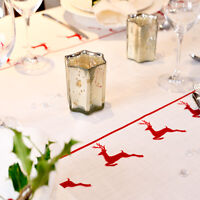 Luxurious Designer Christmas Tablecloth 100% Cotton Choice Of Lengths Red Stag