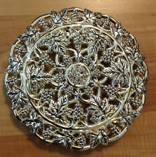 GODINGER Silver Plate Ornate Grape Leaf Round Platter Tray Grape Foot Feet