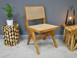 Pierre jeanneret Inspired Teak And Rattan Dining Chairs Office Chair Stylish