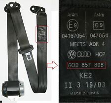 VW Polo Seat Belt Passengers Side Rear 2002 to 2005 Hatchback N/S/R 6Q0 857 805