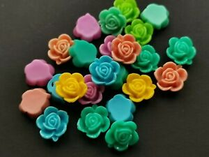 Resin flower rose cabochon flat back mix of colours 12 mm pack of 22