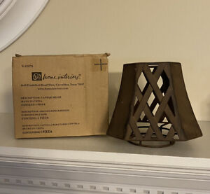 Home Interiors brown metal candle shade/topper NEW