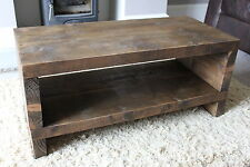 Rustic Handcrafted Chunky Reclaimed TV Unit stand/cabinet In Walnut Wax