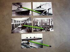 5 PHOTOS LE PAQUEBOT NORMANDIE INCENDIE DANS  PORT DE NEW YORK (reproductions).