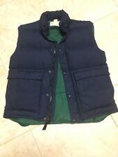 Vintage Eddie Bauer Men's Insulated Goose Down Snap Zip Vest Navy Blue Size M