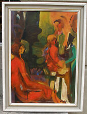 Interesting fauvist café interior with figures. 1940s. Signed.