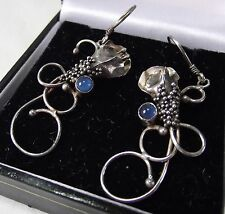 DANGLY ORNATE EARRINGS INDIAN SILVER TONE WHITE METAL BLUE JEWELLERY X