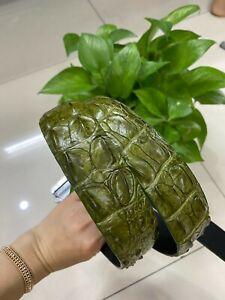 double hornback Genuine Crocodile Alligator Skin Leather Belt 3.8cm width