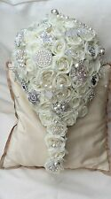 IVORY ROSES BROOCHES PEARLS TEARDROP BOUQUET BRIDE WEDDING FLOWERS GLAMOUR