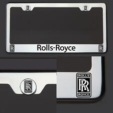 Chrome T304 License Plate Frame Rolls Royce Black Letter Laser Etched Engraved