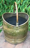 Antique Brass Log Bin Coal Scuttle Fireplace Ingelnook Swing Handle