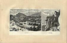 Stampa antica AIRUNO panorama e tunnel in Brianza Lecco 1875 Old antique print