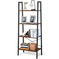 4-Tier Ladder Shelf Ladder Bookcase Bookshelf Display Rack Plant Stand Wood