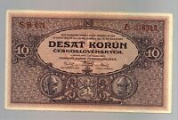 Czechoslovakia 10 Korun 1927 RARE Condition SERIE B Banknote P20a NOT PERFORATED