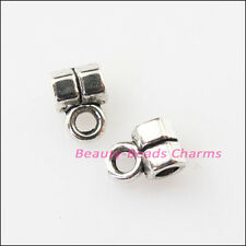 50Pcs Antiqued Silver Tiny Tube Bail Bead Charms Connectors 4.5x6.5mm
